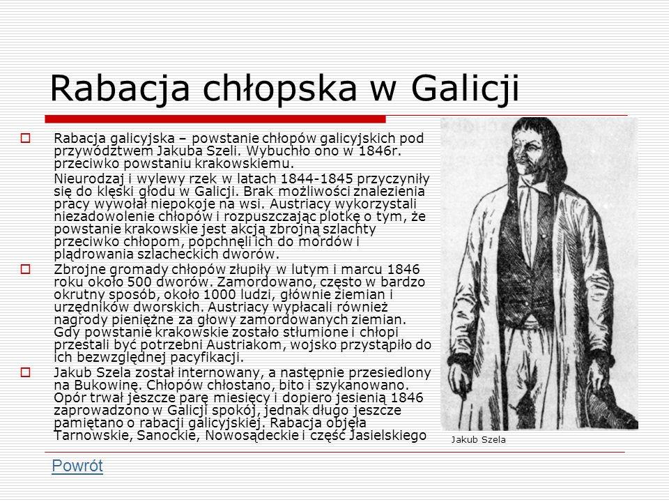 Rabacja chłopska w Galicji Rabacja galicyjska – powstanie chłopów galicyjskich pod przywództwem Jakuba Szeli. Wybuchło ono w 1846r. przeciwko powstani