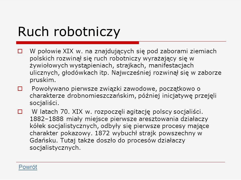 Ruch robotniczy W połowie XIX w. na znajdujących się pod zaborami ziemiach polskich rozwinął się ruch robotniczy wyrażający się w żywiołowych wystąpie