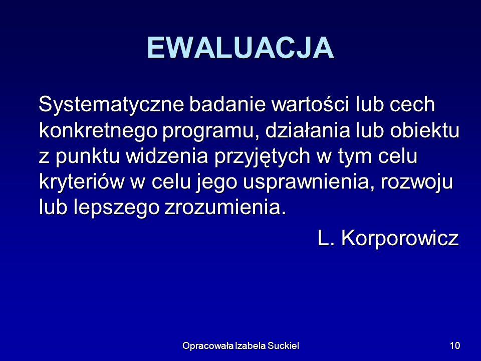 Opracowała Izabela Suckiel10 EWALUACJA Systematyczne badanie wartości lub cech konkretnego programu, działania lub obiektu z punktu widzenia przyjętyc