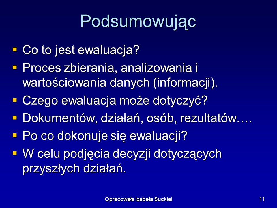 Opracowała Izabela Suckiel11 Podsumowując Co to jest ewaluacja? Co to jest ewaluacja? Proces zbierania, analizowania i wartościowania danych (informac