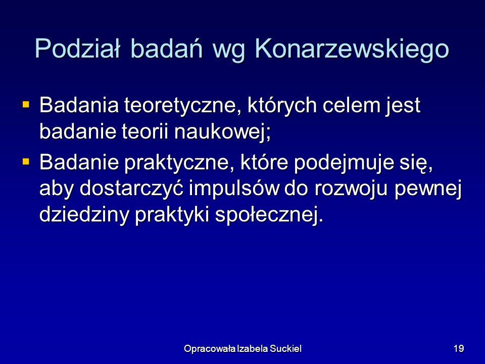 Opracowała Izabela Suckiel19 Podział badań wg Konarzewskiego Badania teoretyczne, których celem jest badanie teorii naukowej; Badania teoretyczne, któ