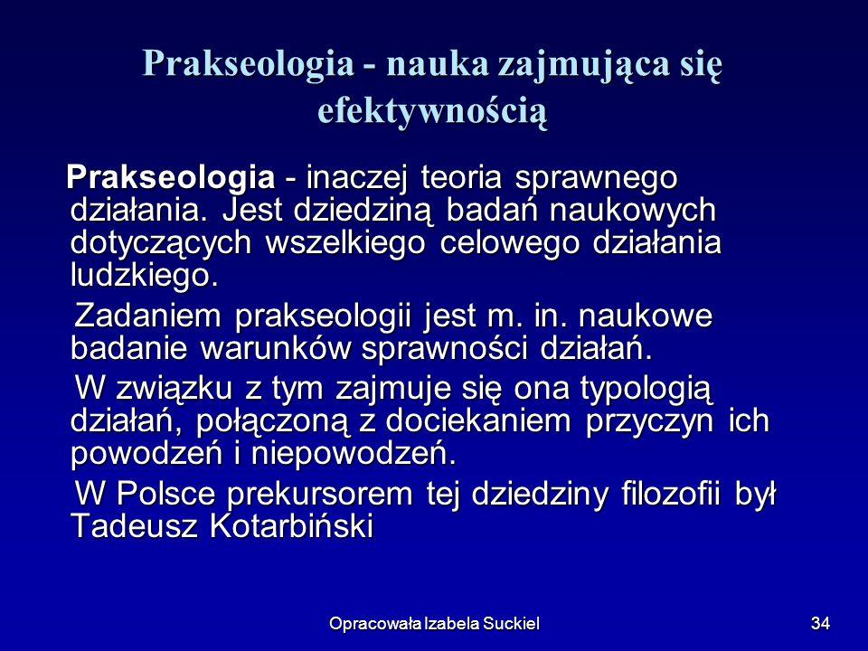 Opracowała Izabela Suckiel34 Prakseologia - nauka zajmująca się efektywnością Prakseologia - inaczej teoria sprawnego działania. Jest dziedziną badań