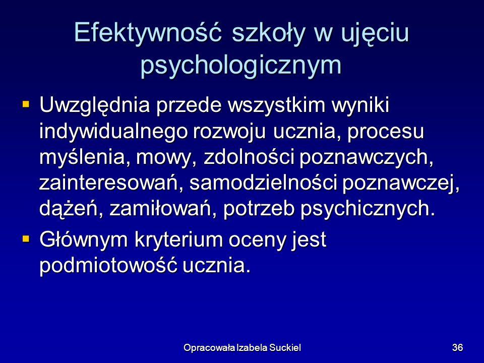 Opracowała Izabela Suckiel36 Efektywność szkoły w ujęciu psychologicznym Uwzględnia przede wszystkim wyniki indywidualnego rozwoju ucznia, procesu myś