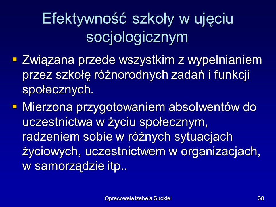 Opracowała Izabela Suckiel38 Efektywność szkoły w ujęciu socjologicznym Związana przede wszystkim z wypełnianiem przez szkołę różnorodnych zadań i fun
