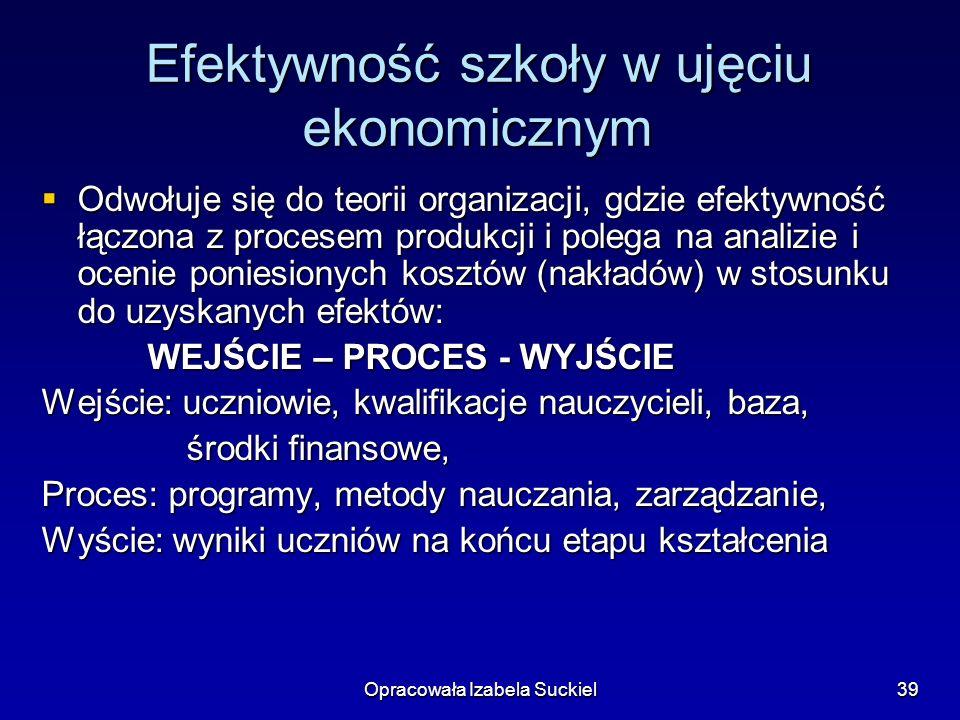 Opracowała Izabela Suckiel39 Efektywność szkoły w ujęciu ekonomicznym Odwołuje się do teorii organizacji, gdzie efektywność łączona z procesem produkc