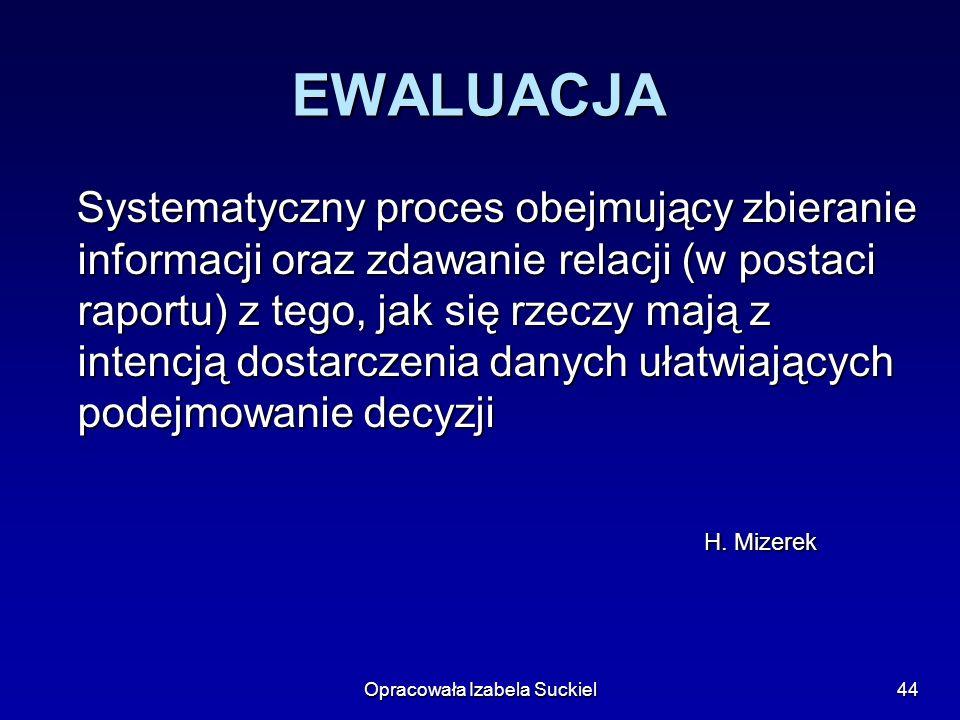 Opracowała Izabela Suckiel44 EWALUACJA Systematyczny proces obejmujący zbieranie informacji oraz zdawanie relacji (w postaci raportu) z tego, jak się