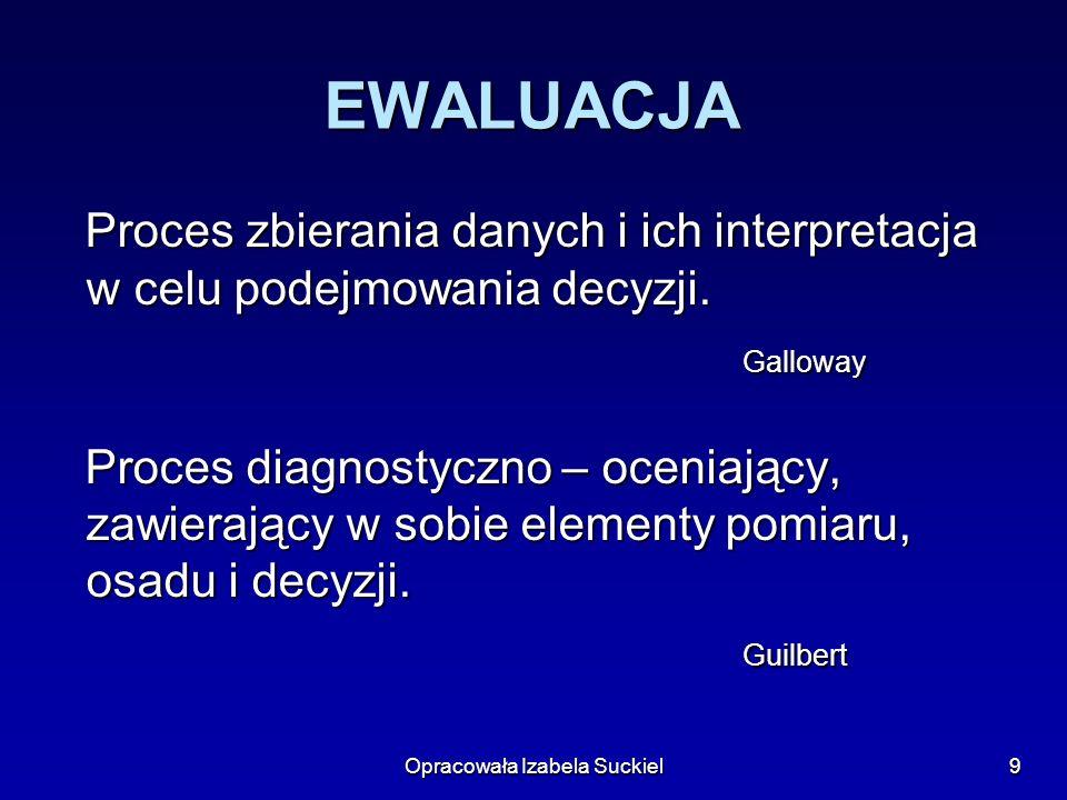 Opracowała Izabela Suckiel9 EWALUACJA Proces zbierania danych i ich interpretacja w celu podejmowania decyzji. Proces zbierania danych i ich interpret