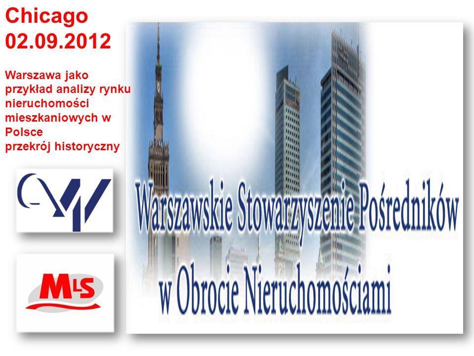Chicago 02.09.2012 Warszawa jako przykład analizy rynku nieruchomości mieszkaniowych w Polsce przekrój historyczny Źródła danych Dane archiwalne MLS- WSPON - Dane GUS -- Amron, -- Reas - Opracowania NBP - Portale internetowe - Wikipedia - Pricewaterhouse Coopers.