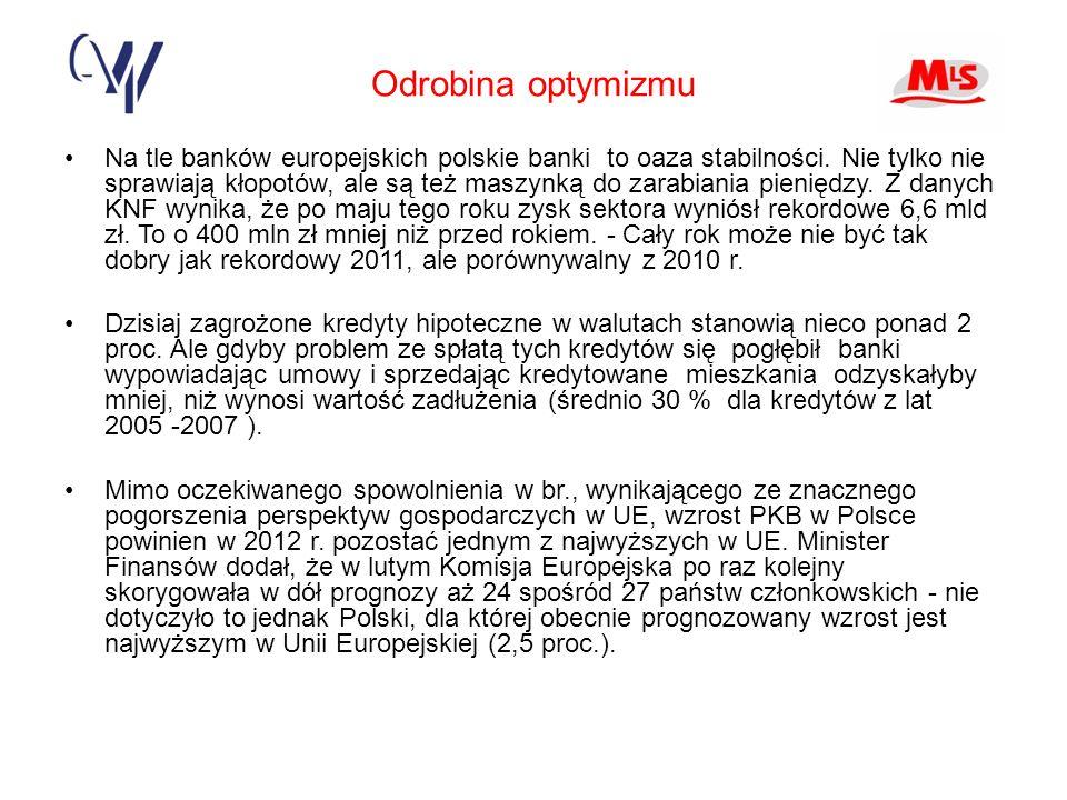 Odrobina optymizmu Na tle banków europejskich polskie banki to oaza stabilności.