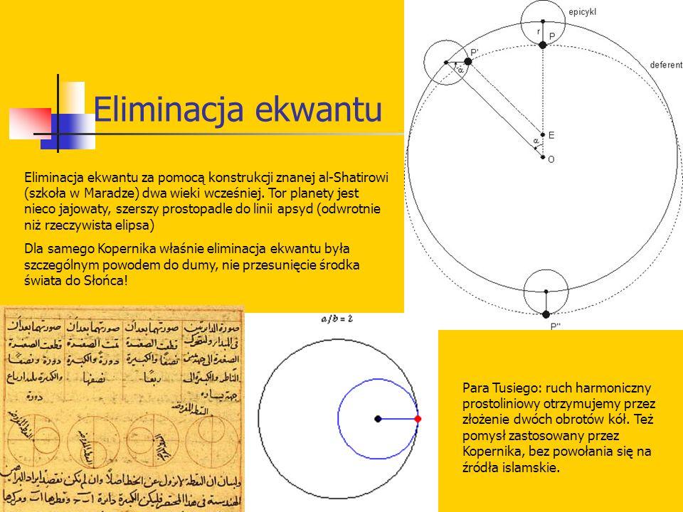 Eliminacja ekwantu Eliminacja ekwantu za pomocą konstrukcji znanej al-Shatirowi (szkoła w Maradze) dwa wieki wcześniej. Tor planety jest nieco jajowat