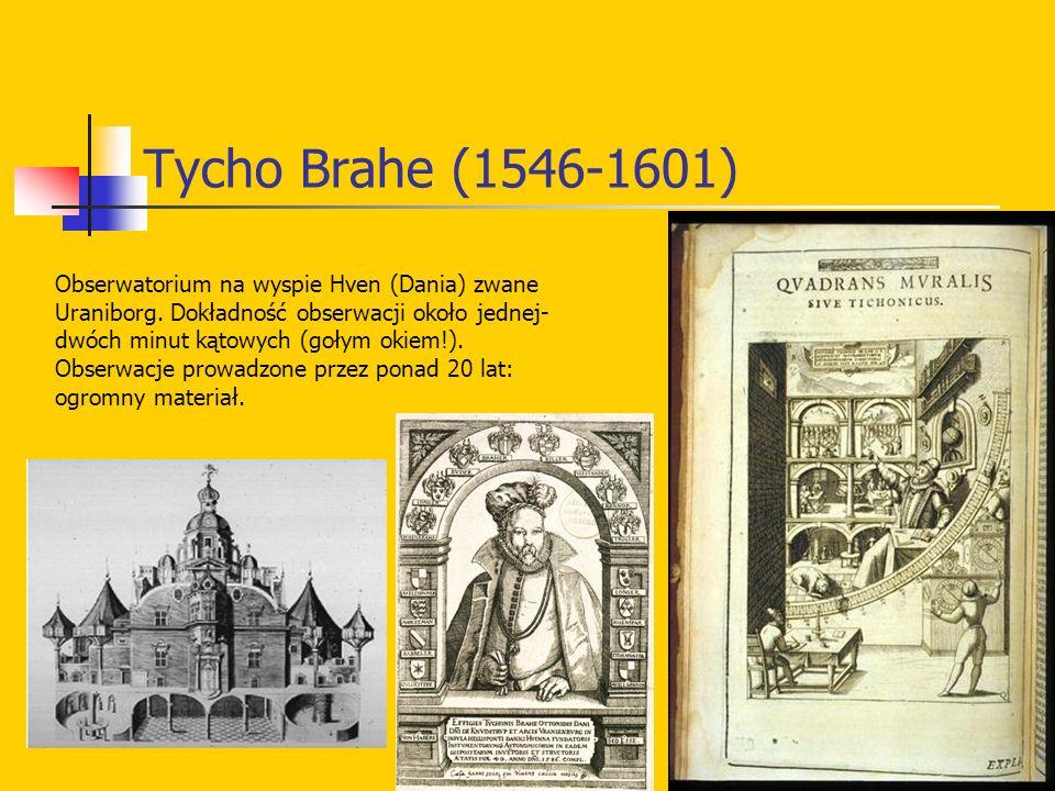 Tycho Brahe (1546-1601) Obserwatorium na wyspie Hven (Dania) zwane Uraniborg. Dokładność obserwacji około jednej- dwóch minut kątowych (gołym okiem!).
