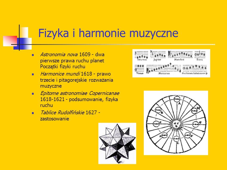 Astronomia nova 1609 - dwa pierwsze prawa ruchu planet Początki fizyki ruchu Harmonice mundi 1618 - prawo trzecie i pitagorejskie rozważania muzyczne