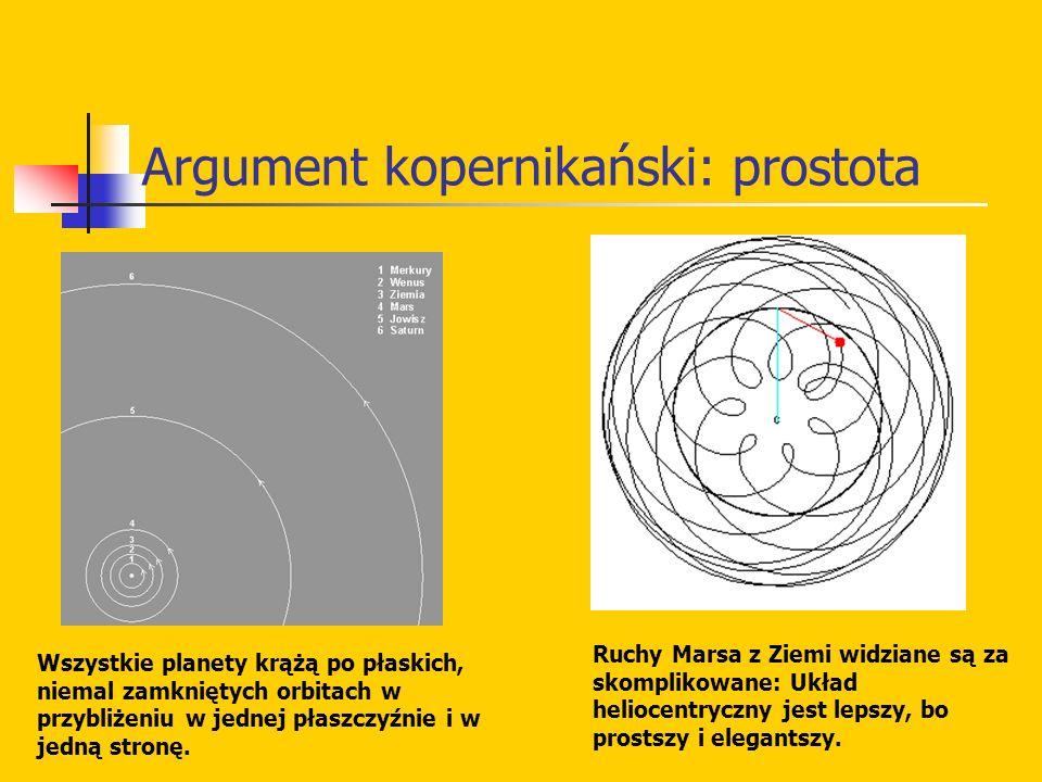 Argument kopernikański: prostota Wszystkie planety krążą po płaskich, niemal zamkniętych orbitach w przybliżeniu w jednej płaszczyźnie i w jedną stron
