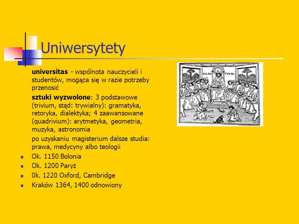Uniwersytety universitas - wspólnota nauczycieli i studentów, mogąca się w razie potrzeby przenosić sztuki wyzwolone: 3 podstawowe (trivium, stąd: try