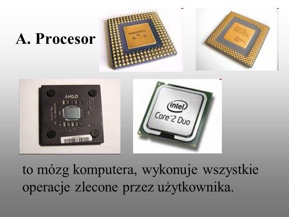 to mózg komputera, wykonuje wszystkie operacje zlecone przez użytkownika. A. Procesor