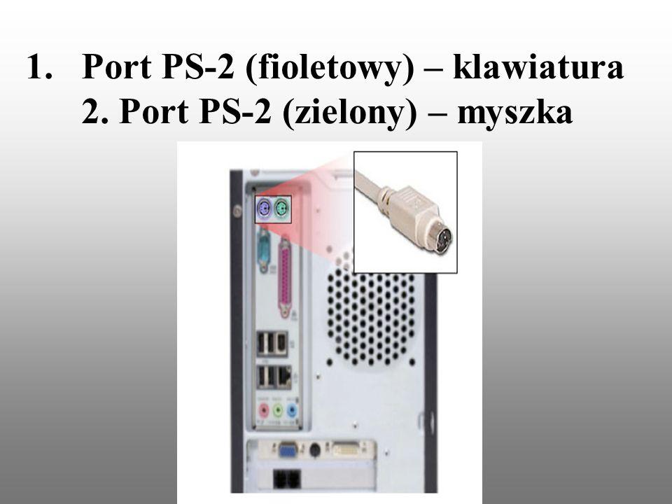 1.Port PS-2 (fioletowy) – klawiatura 2. Port PS-2 (zielony) – myszka