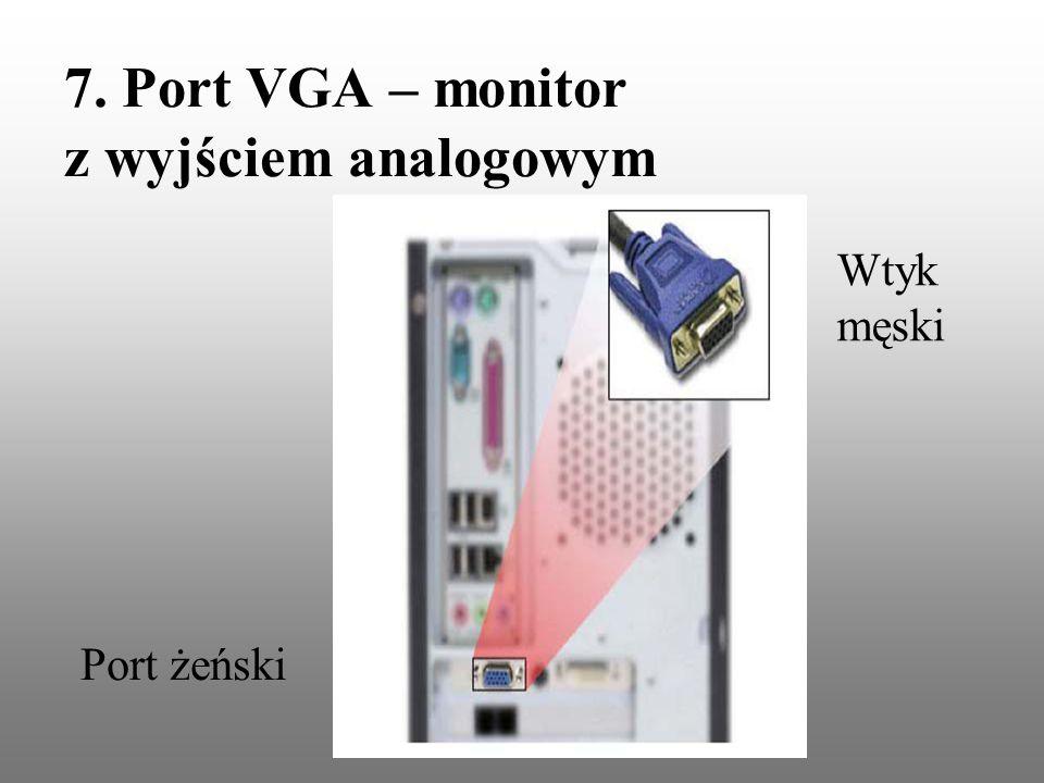 7. Port VGA – monitor z wyjściem analogowym Port żeński Wtyk męski