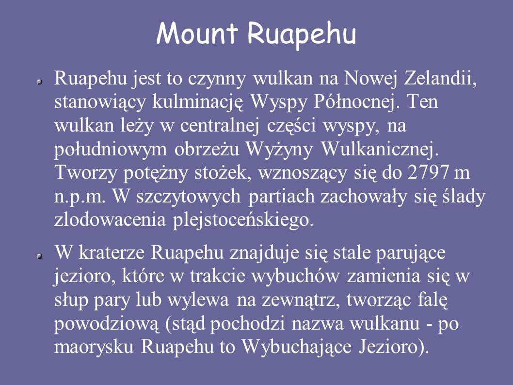Mount Ruapehu Ruapehu jest to czynny wulkan na Nowej Zelandii, stanowiący kulminację Wyspy Północnej. Ten wulkan leży w centralnej części wyspy, na po