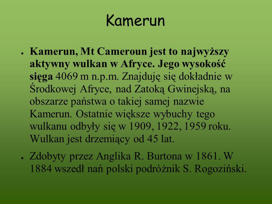 Kamerun Kamerun, Mt Cameroun jest to najwyższy aktywny wulkan w Afryce. Jego wysokość sięga 4069 m n.p.m. Znajduję się dokładnie w Środkowej Afryce, n