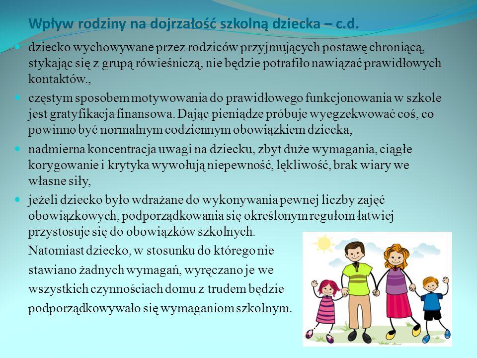 Wpływ rodziny na dojrzałość szkolną dziecka – c.d.