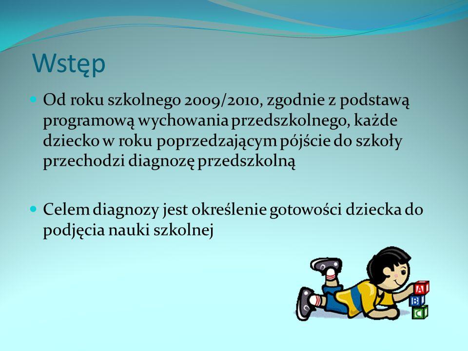 Wstęp Od roku szkolnego 2009/2010, zgodnie z podstawą programową wychowania przedszkolnego, każde dziecko w roku poprzedzającym pójście do szkoły przechodzi diagnozę przedszkolną Celem diagnozy jest określenie gotowości dziecka do podjęcia nauki szkolnej
