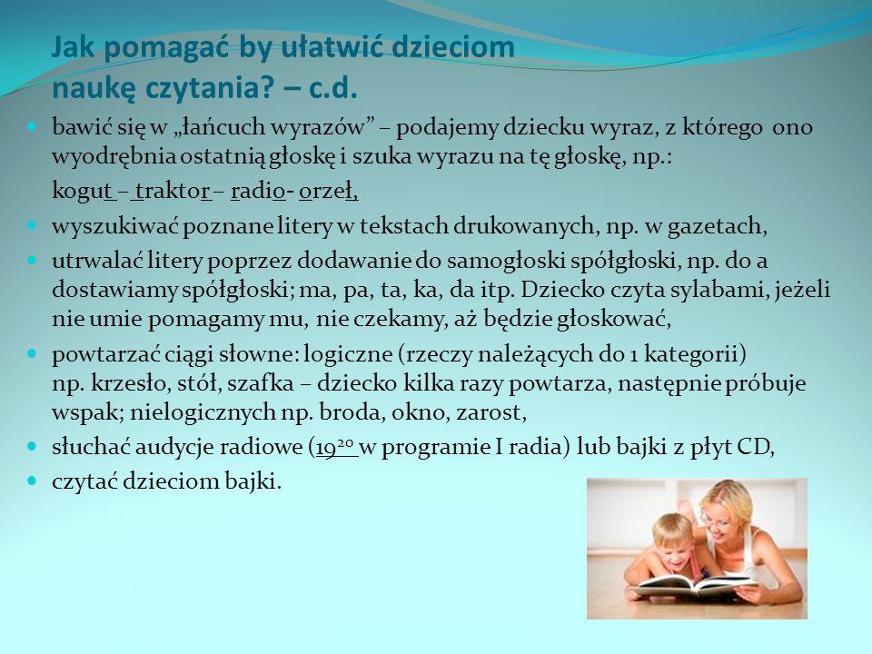 Jak pomagać by ułatwić dzieciom naukę czytania.– c.d.