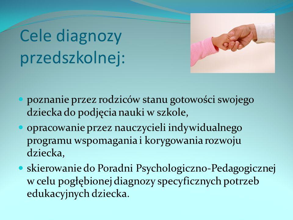 Cele diagnozy przedszkolnej: poznanie przez rodziców stanu gotowości swojego dziecka do podjęcia nauki w szkole, opracowanie przez nauczycieli indywidualnego programu wspomagania i korygowania rozwoju dziecka, skierowanie do Poradni Psychologiczno-Pedagogicznej w celu pogłębionej diagnozy specyficznych potrzeb edukacyjnych dziecka.