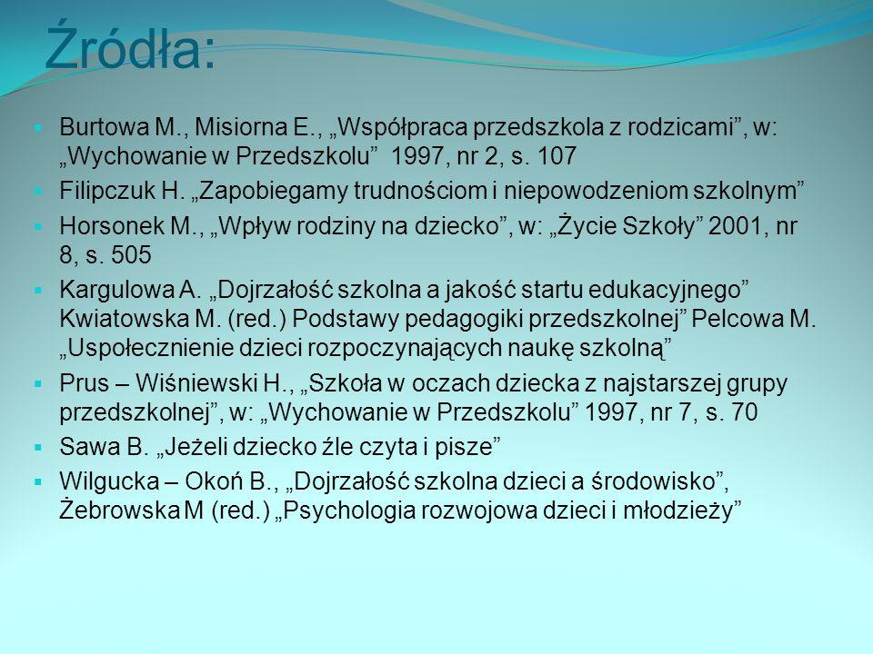 Źródła: Burtowa M., Misiorna E., Współpraca przedszkola z rodzicami, w: Wychowanie w Przedszkolu 1997, nr 2, s.