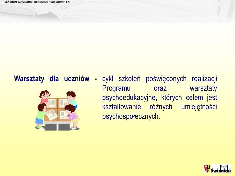 Warsztaty dla uczniów - cykl szkoleń poświęconych realizacji Programu oraz warsztaty psychoedukacyjne, których celem jest kształtowanie różnych umieję
