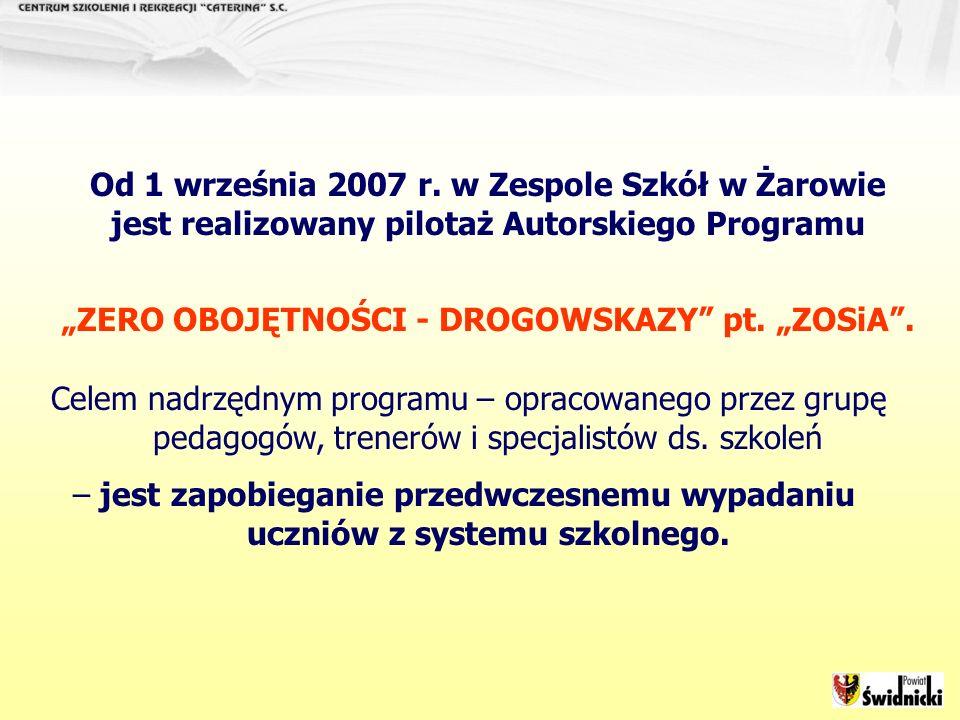 Od 1 września 2007 r. w Zespole Szkół w Żarowie jest realizowany pilotaż Autorskiego Programu ZERO OBOJĘTNOŚCI - DROGOWSKAZY pt. ZOSiA. Celem nadrzędn