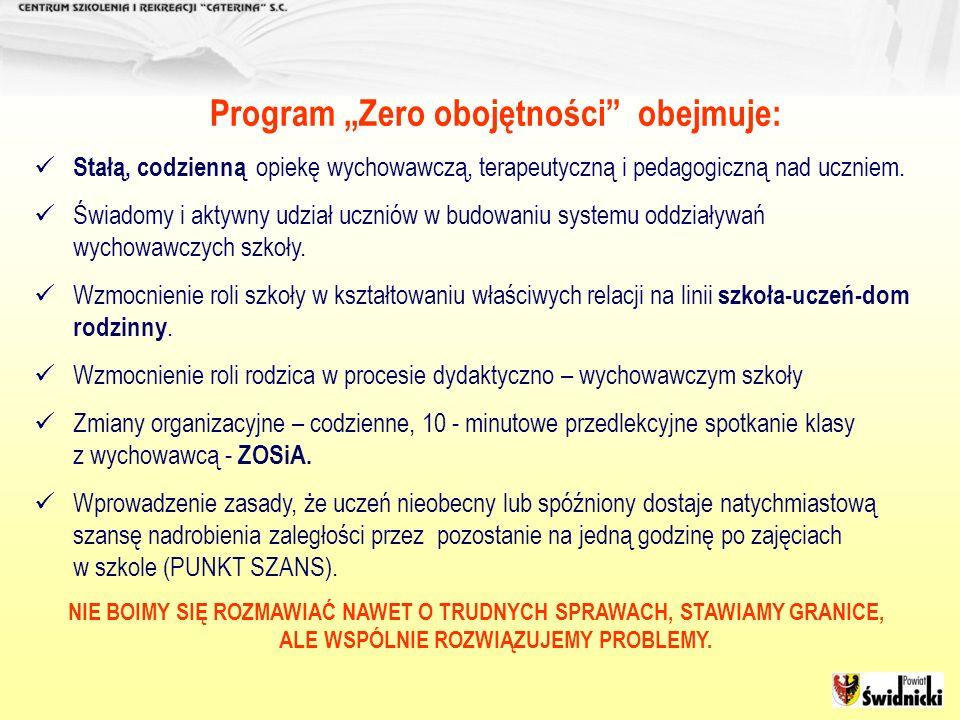 Program Zero obojętności obejmuje: Stałą, codzienną opiekę wychowawczą, terapeutyczną i pedagogiczną nad uczniem. Świadomy i aktywny udział uczniów w