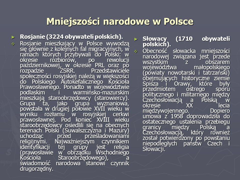 Mniejszości narodowe w Polsce Rosjanie (3224 obywateli polskich). Rosjanie (3224 obywateli polskich). Rosjanie mieszkający w Polsce wywodzą się główni