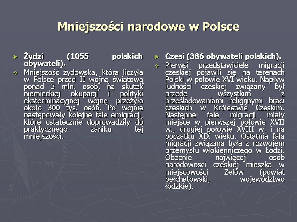 Mniejszości narodowe w Polsce Żydzi (1055 polskich obywateli). Żydzi (1055 polskich obywateli). Mniejszość żydowska, która liczyła w Polsce przed II w