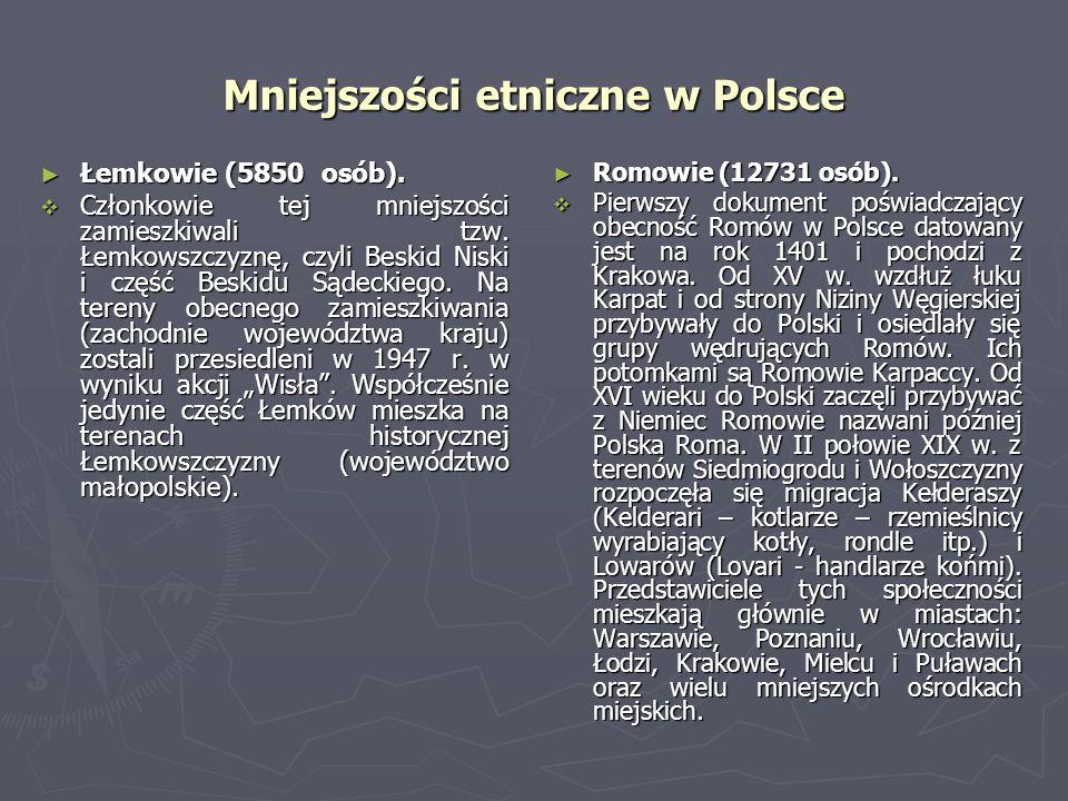 Mniejszości etniczne w Polsce Łemkowie (5850 osób). Łemkowie (5850 osób). Członkowie tej mniejszości zamieszkiwali tzw. Łemkowszczyznę, czyli Beskid N