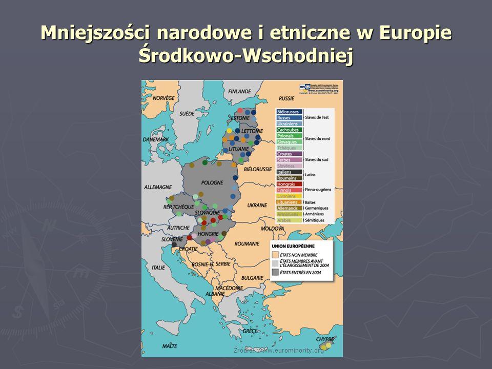 Mniejszości narodowe i etniczne w Europie Środkowo-Wschodniej Źródło: www.eurominority.org