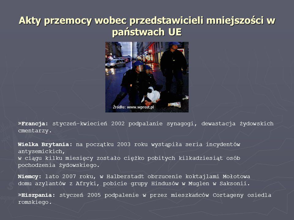 Akty przemocy wobec przedstawicieli mniejszości w państwach UE Niemcy: lato 2007 roku, w Halberstadt obrzucenie koktajlami Mołotowa domu azylantów z A