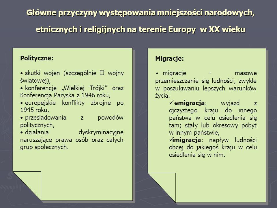 Główne przyczyny występowania mniejszości narodowych, etnicznych i religijnych na terenie Europy w XX wieku Polityczne: skutki wojen (szczególnie II w