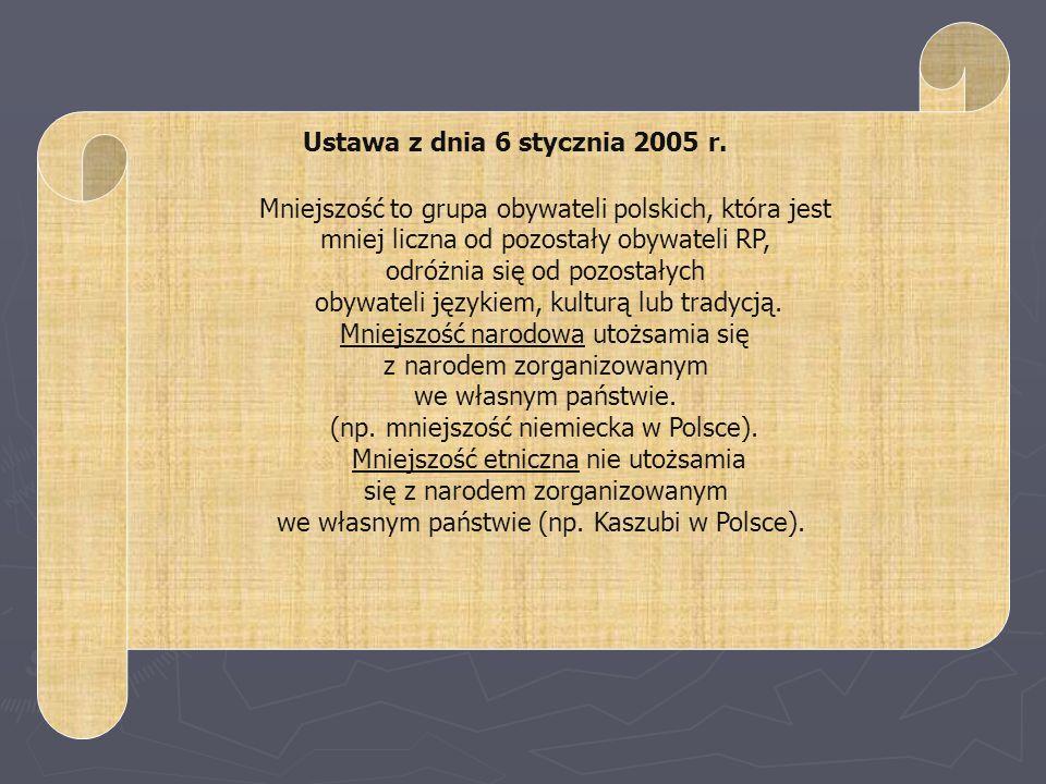 Mniejszość to grupa obywateli polskich, która jest mniej liczna od pozostały obywateli RP, odróżnia się od pozostałych obywateli językiem, kulturą lub