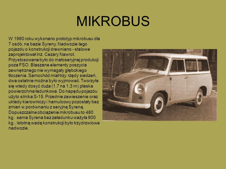 MIKROBUS W 1960 roku wykonano prototyp mikrobusu dla 7 osób, na bazie Syreny. Nadwozie tego pojazdu o konstrukcji drewniano - stalowe zaprojektował in