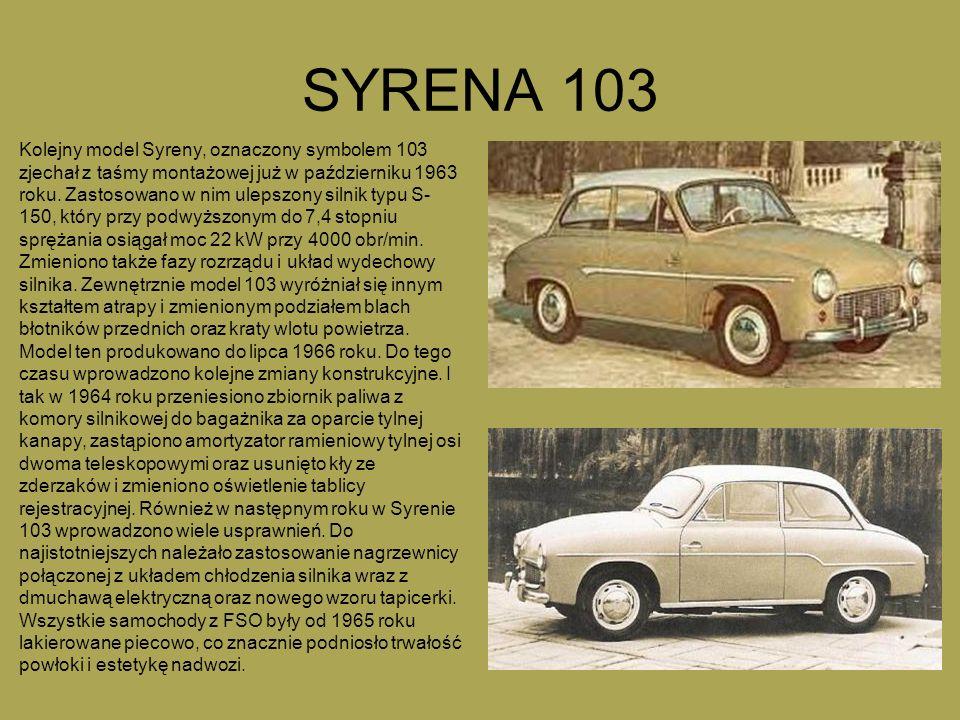 SYRENA 103 Kolejny model Syreny, oznaczony symbolem 103 zjechał z taśmy montażowej już w październiku 1963 roku. Zastosowano w nim ulepszony silnik ty