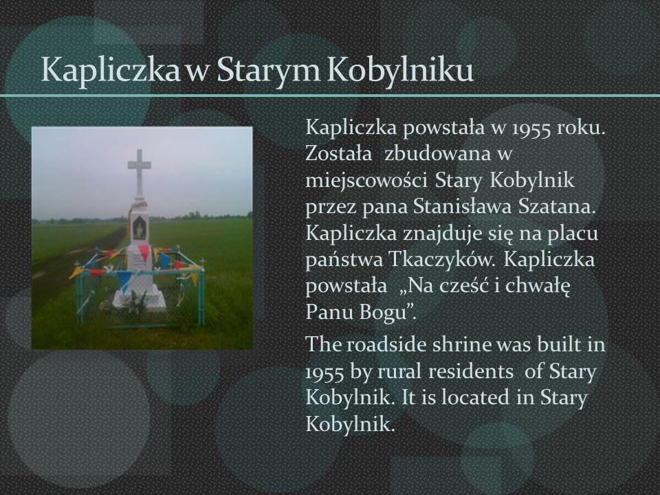 Kapliczka w Starym Kobylniku Kapliczka powstała w 1955 roku. Została zbudowana w miejscowości Stary Kobylnik przez pana Stanisława Szatana. Kapliczka