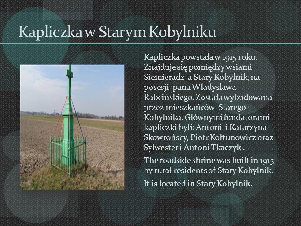 Kapliczka w Starym Kobylniku Kapliczka powstała w 1915 roku. Znajduje się pomiędzy wsiami Siemieradz a Stary Kobylnik, na posesji pana Władysława Rabc