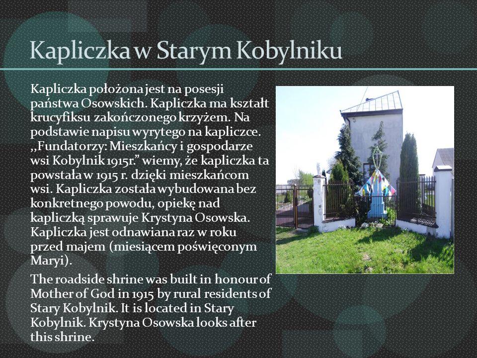 Kapliczka w Starym Kobylniku Kapliczka położona jest na posesji państwa Osowskich. Kapliczka ma kształt krucyfiksu zakończonego krzyżem. Na podstawie
