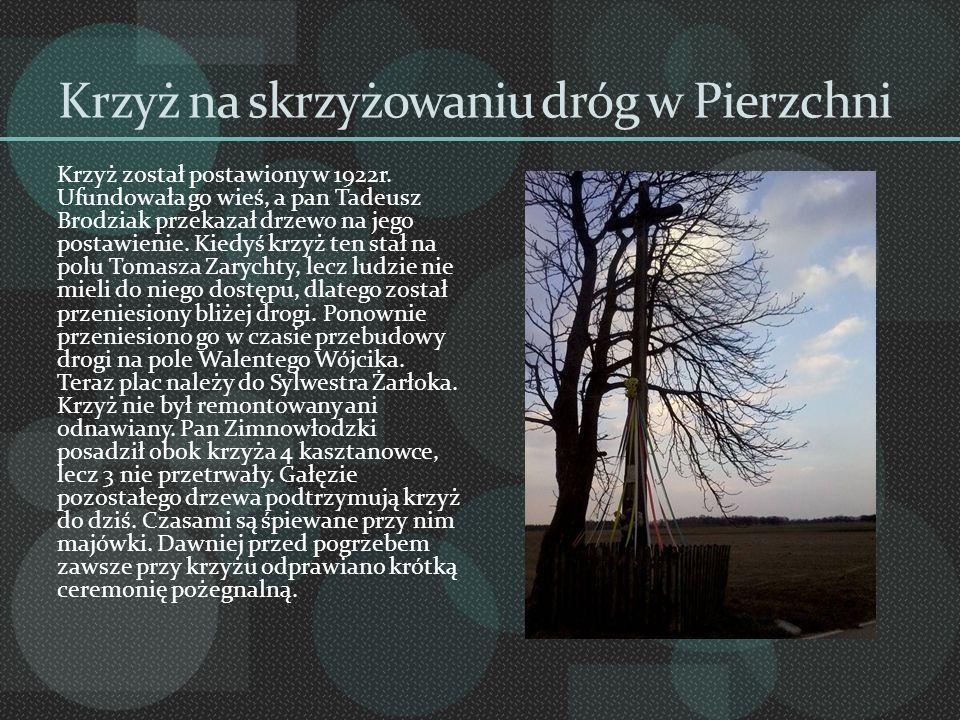 Krzyż na skrzyżowaniu dróg w Pierzchni Krzyż został postawiony w 1922r. Ufundowała go wieś, a pan Tadeusz Brodziak przekazał drzewo na jego postawieni