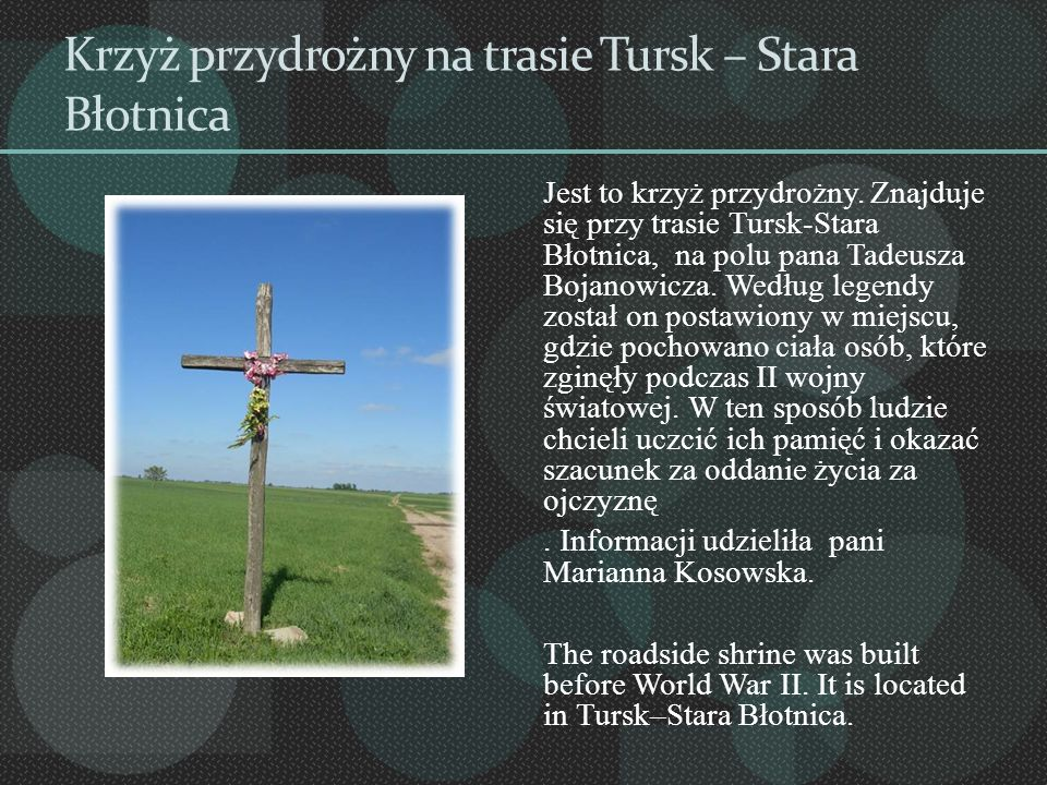 Krzyż przydrożny na trasie Tursk – Stara Błotnica Jest to krzyż przydrożny. Znajduje się przy trasie Tursk-Stara Błotnica, na polu pana Tadeusza Bojan