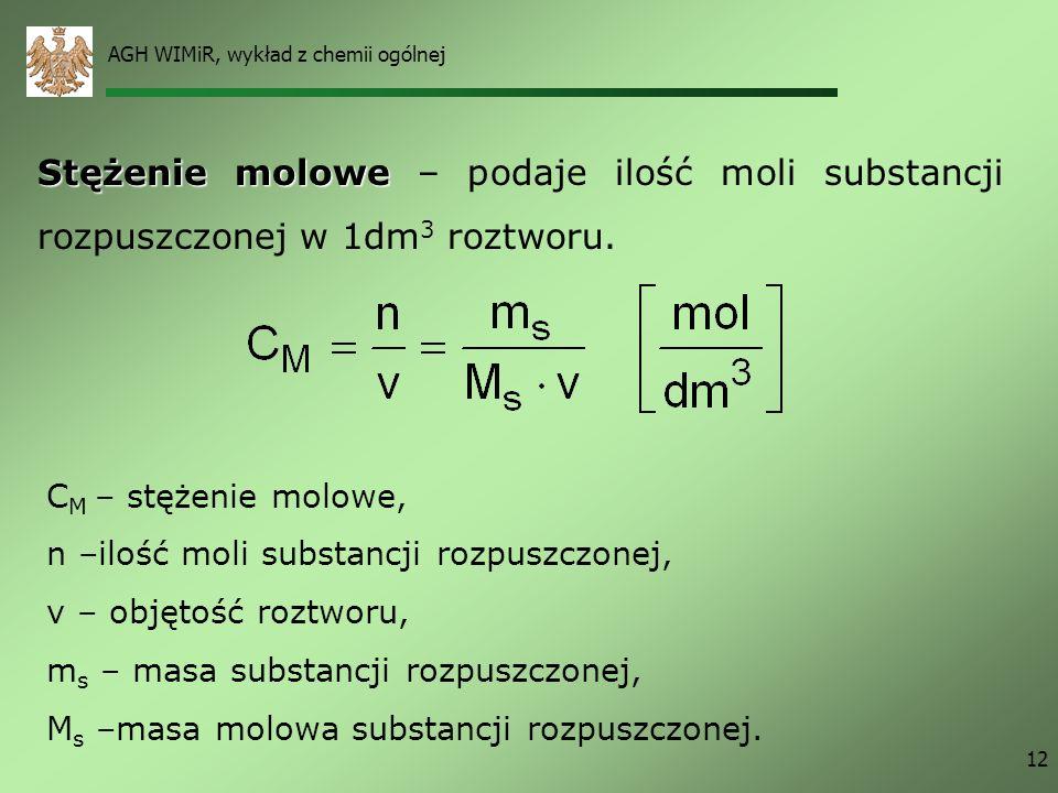 AGH WIMiR, wykład z chemii ogólnej 12 Stężenie molowe Stężenie molowe – podaje ilość moli substancji rozpuszczonej w 1dm 3 roztworu. C M – stężenie mo