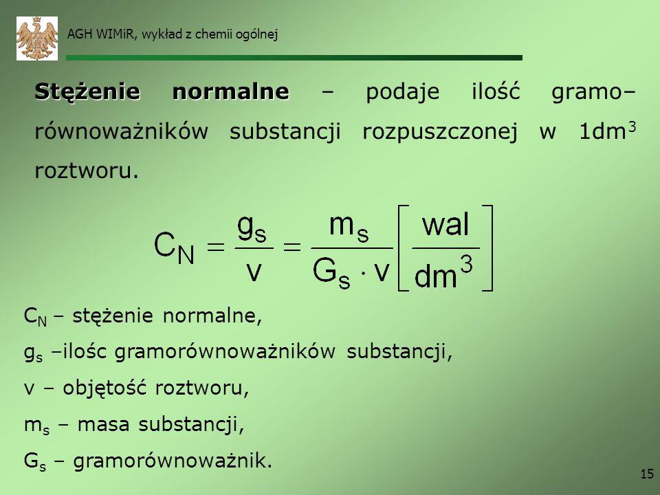 AGH WIMiR, wykład z chemii ogólnej 15 Stężenie normalne Stężenie normalne – podaje ilość gramo– równoważników substancji rozpuszczonej w 1dm 3 roztwor