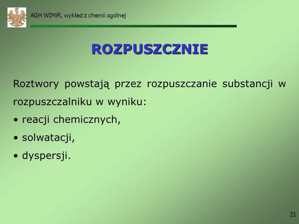 AGH WIMiR, wykład z chemii ogólnej 21 ROZPUSZCZNIE Roztwory powstają przez rozpuszczanie substancji w rozpuszczalniku w wyniku: reacji chemicznych, so