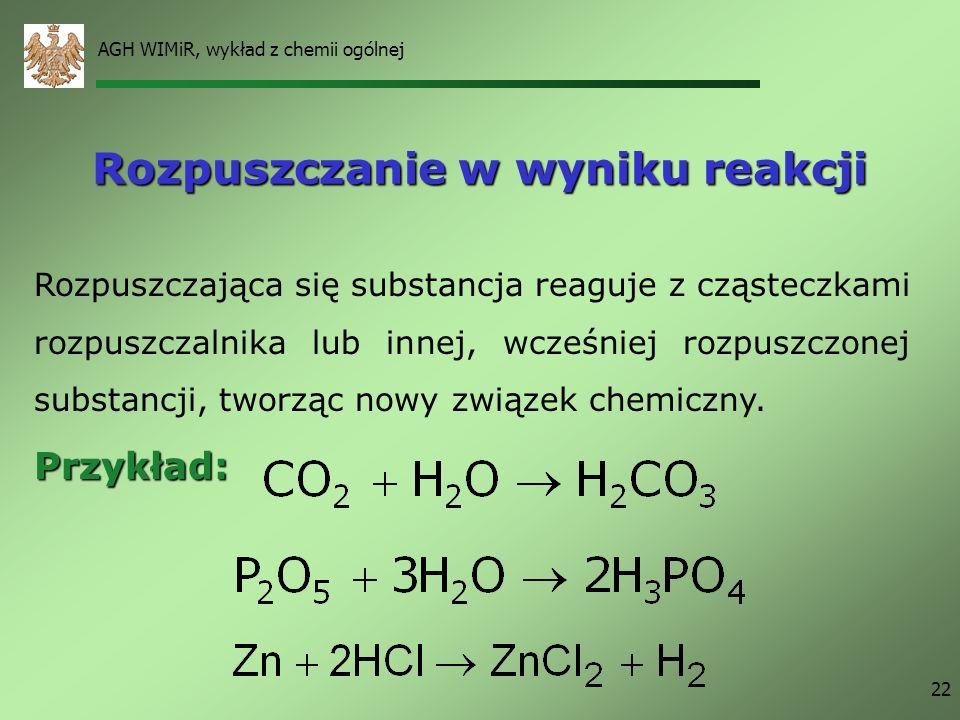 AGH WIMiR, wykład z chemii ogólnej 22 Rozpuszczanie w wyniku reakcji Rozpuszczająca się substancja reaguje z cząsteczkami rozpuszczalnika lub innej, w