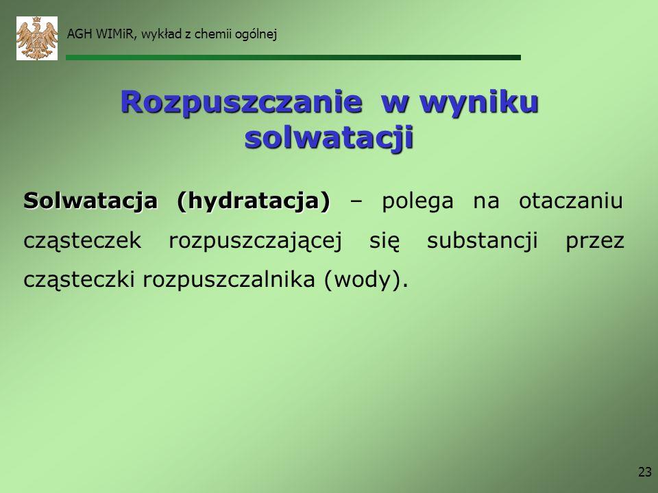 AGH WIMiR, wykład z chemii ogólnej 23 Rozpuszczanie w wyniku solwatacji Solwatacja(hydratacja) Solwatacja (hydratacja) – polega na otaczaniu cząstecze